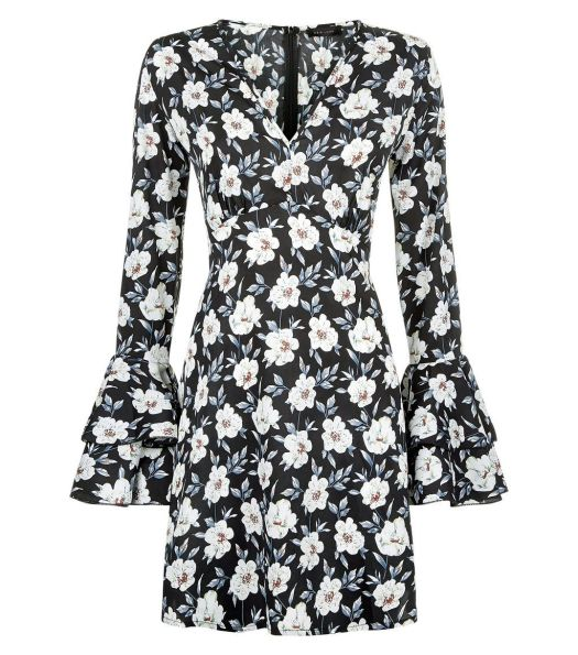 black-floral-print-v-neck-bell-sleeve-dress