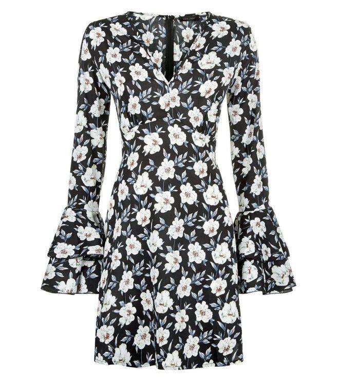 black-floral-print-v-neck-bell-sleeve-dress